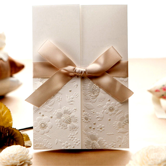 Wedding Invitation Cards with Ribbon