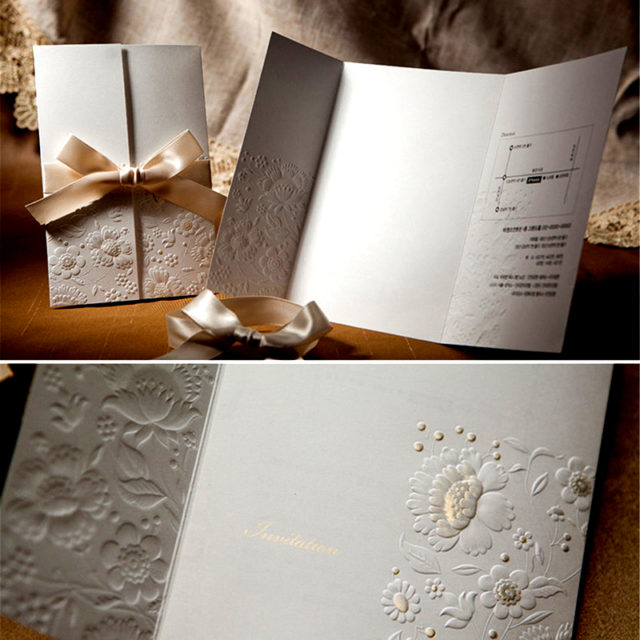 Wedding Invitation Cards with Ribbon
