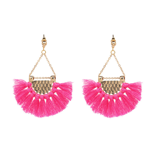 Women's Elegant Hoop Tassel Earrings