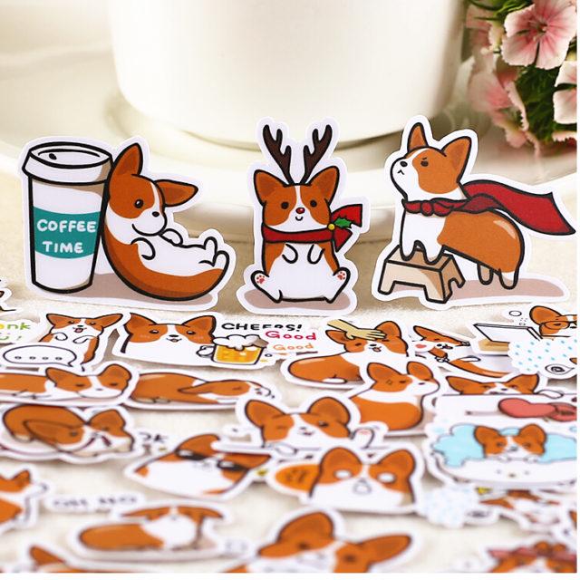 Cute Dog Printed Stickers 39 pcs Set