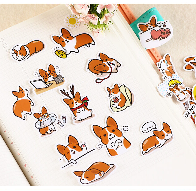 Cute Dog Printed Stickers 39 pcs Set