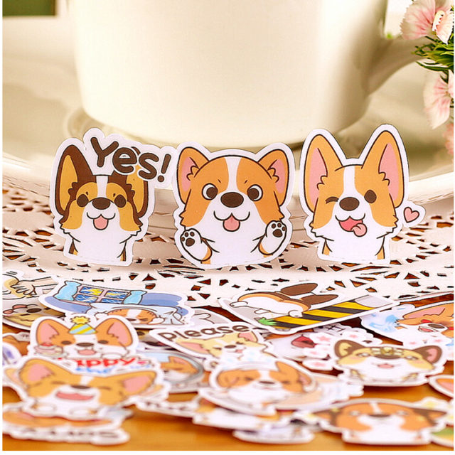 Creative Cartoon Dog Diary Stickers Set