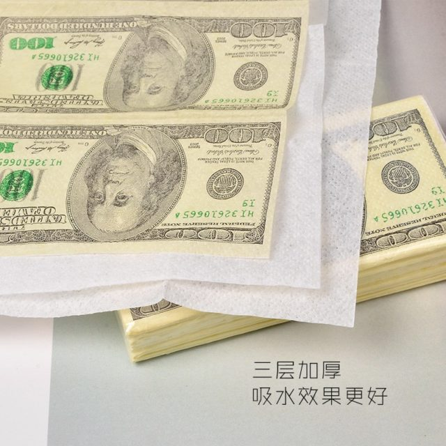 100 Dollar Toilet Tissue Paper Napkin Printing Natural Comfort Funny Personality Party Popular Wipe